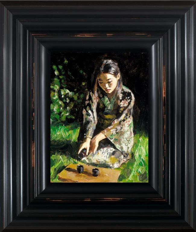 Geisha Pouring Sake - Framed