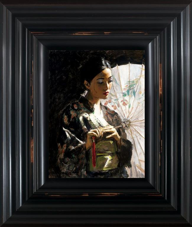 Michiko with White Umbrella - Framed