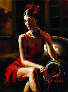 Linda In Red by Fabian Perez