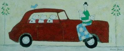 Lady Sitting On The Car by Annora Spence