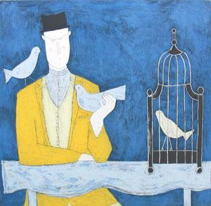 Man With Bird Cage - Blue by Annora Spence