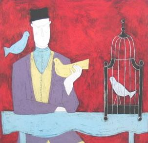 Man With Bird Cage - Red by Annora Spence