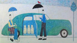 Three Dogs In A Car by Annora Spence