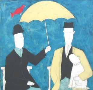 Under The Umbrella - Blue by Annora Spence