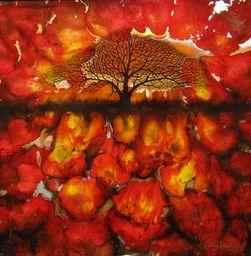 Red Abstract Tree - Square - Original by Kerry Darlington