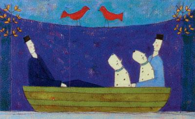 Two Dogs In A Boat by Annora Spence