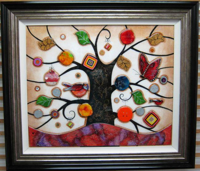 Tree Of Tranquility, Square (Purple Base) - Original  - Framed by Kerry Darlington
