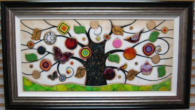 Tree Of Tranquility, Landscape (Green Base) - Original  - Framed by Kerry Darlington
