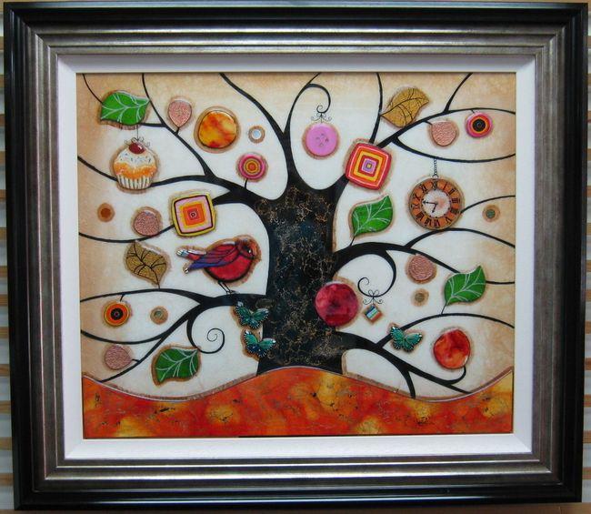 Tree Of Tranquility, Square (Orange Base) - Original  - Framed by Kerry Darlington