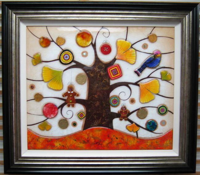 Tree Of Tranquility, Square II (Orange Base) - Original  - Framed by Kerry Darlington