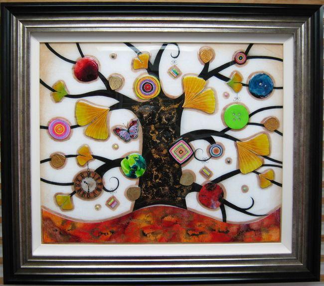 Tree Of Tranquility, Square III (Orange Base) - Original  - Framed by Kerry Darlington