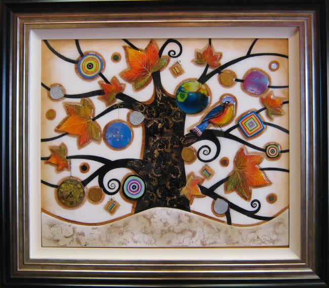 Tree of Tranquility, Square I (Cream Base) - Original  - Framed by Kerry Darlington