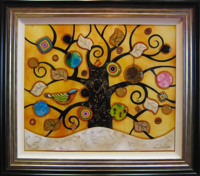 Tree of Tranquility, Square (Cream Base, Yellow Background) - Original by Kerry Darlington