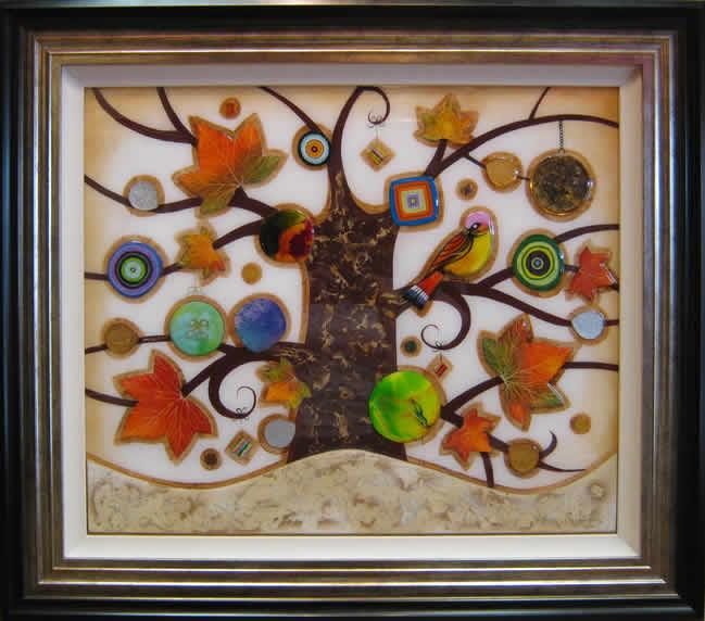 Tree of Tranquility, Square II (Cream Base) - Original  - Framed by Kerry Darlington