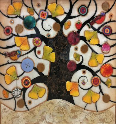 Tree of Tranquility, Square III (Cream Base) - Original  - Framed by Kerry Darlington