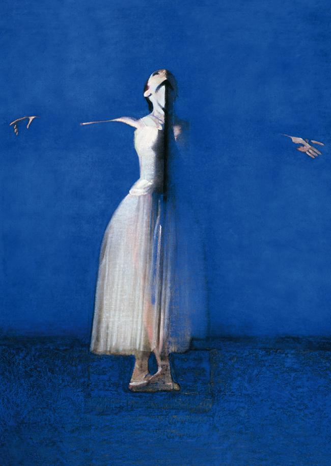 White Dress On Blue by Robert Heindel