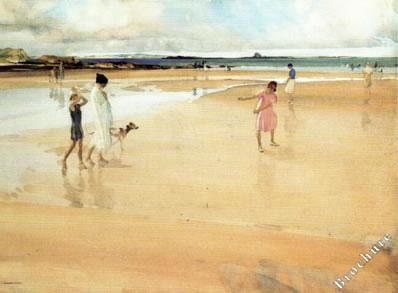 Fun On The Sands, Bamburgh by Russell Flint