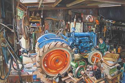 The Workshop (Fordson E27N, P6 Engine) - Unstretched Canvas by Steven Binks
